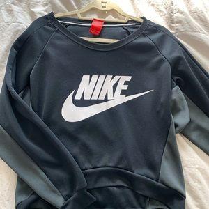 black nike loose crew neck hoodie top